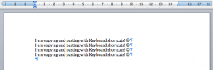Text copied and pasted using keyboard shortcuts